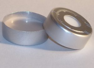 Part Number CHL2-3892_20mm Pressure-Release Aluminum Crimp Seal with PTFE-faced White Silicone Rubber Septum