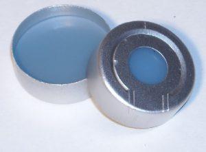 Part Number CHL2-3897_20mm Pressure-Release Aluminum Crimp Seal-Trans-Blue PTFE-faced Silicone Rubber Septum