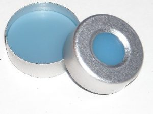 Part Number CHL2-3920_20mm Aluminum Crimp Seal with Trans-Blue PTFE-faced Silicone Rubber Septum